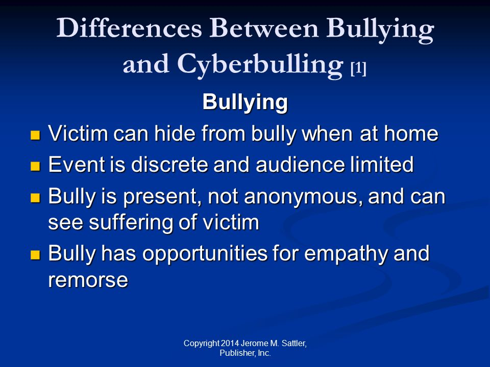 Differences Between Bullying and Cyberbulling [1]